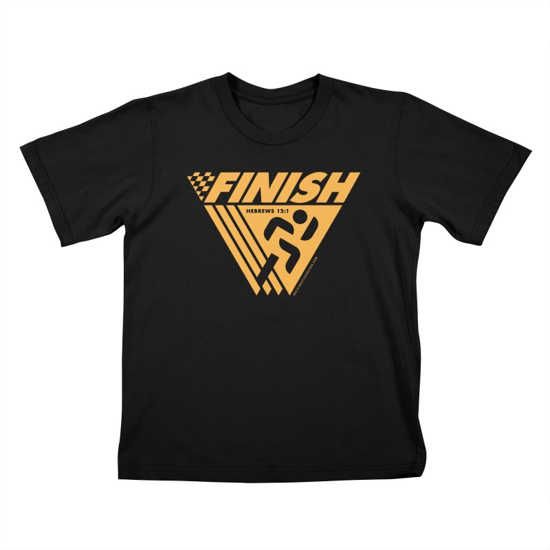 FINISH Retro Race Tee Kids T-Shirt by walkingstickdesign's Artist Shop