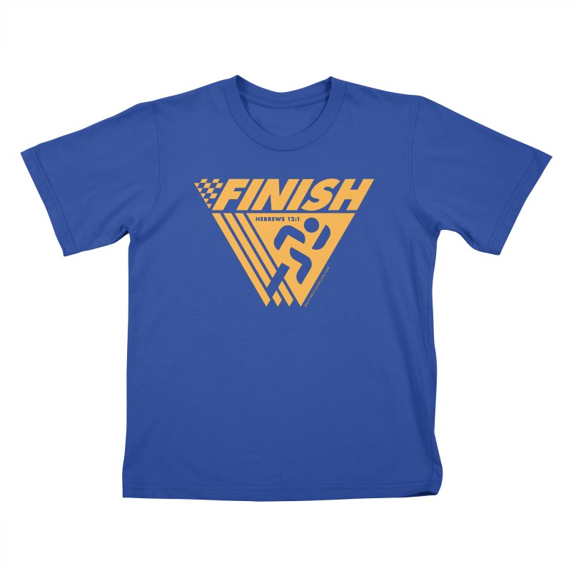 FINISH Retro Race Tee Kids T-Shirt by WalkingStick Design's Artist Shop