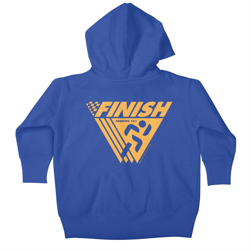 FINISH Retro Race Tee Kids Baby Zip-Up Hoody by WalkingStick Design's Artist Shop