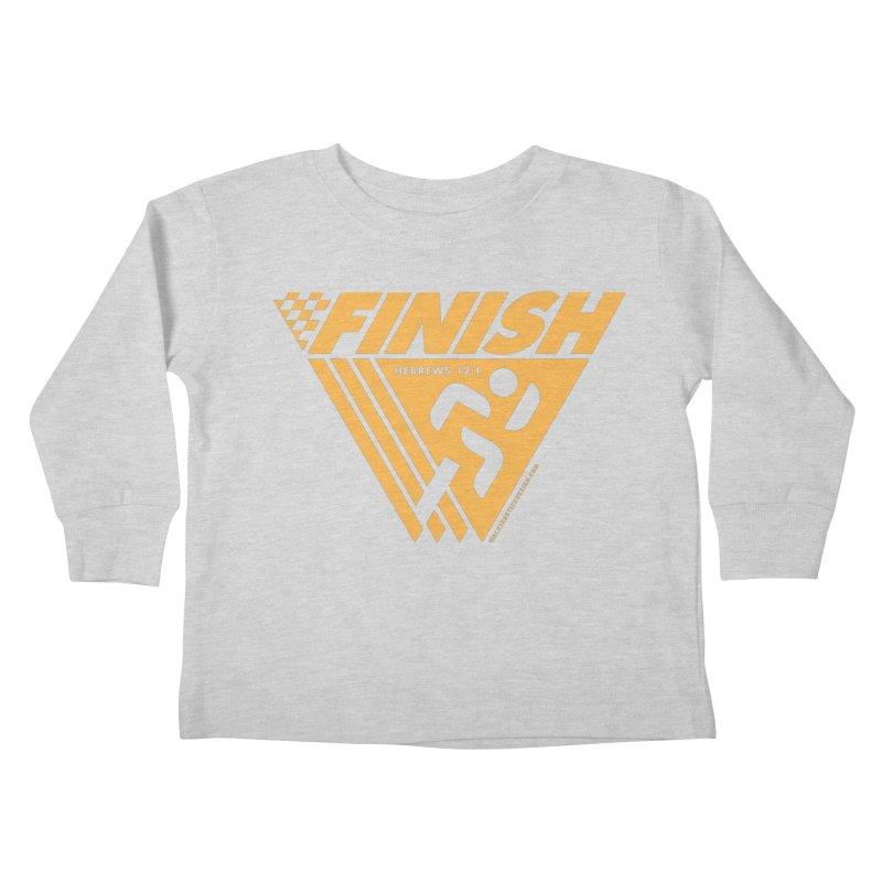 FINISH Retro Race Tee Kids Toddler Longsleeve T-Shirt by WalkingStick Design's Artist Shop