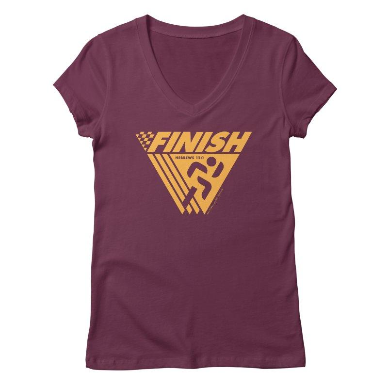 FINISH Retro Race Tee Women's Regular V-Neck by WalkingStick Design's Artist Shop