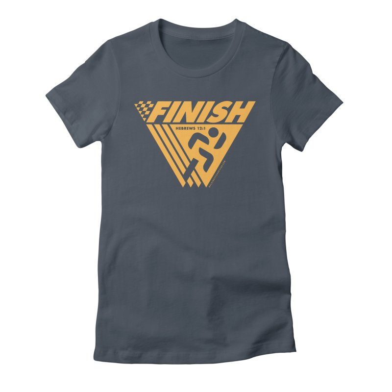 FINISH Retro Race Tee Women's Fitted T-Shirt by walkingstickdesign's Artist Shop