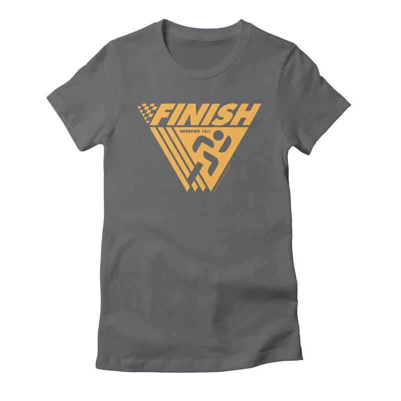 FINISH Retro Race Tee Women's Fitted T-Shirt by WalkingStick Design's Artist Shop
