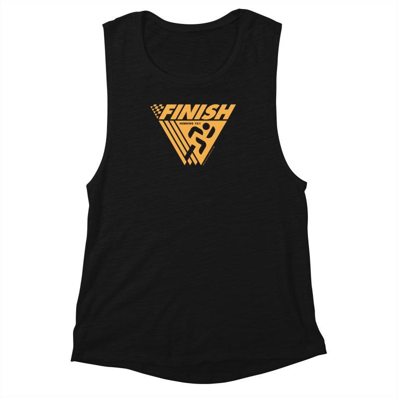 FINISH Retro Race Tee Women's Muscle Tank by walkingstickdesign's Artist Shop