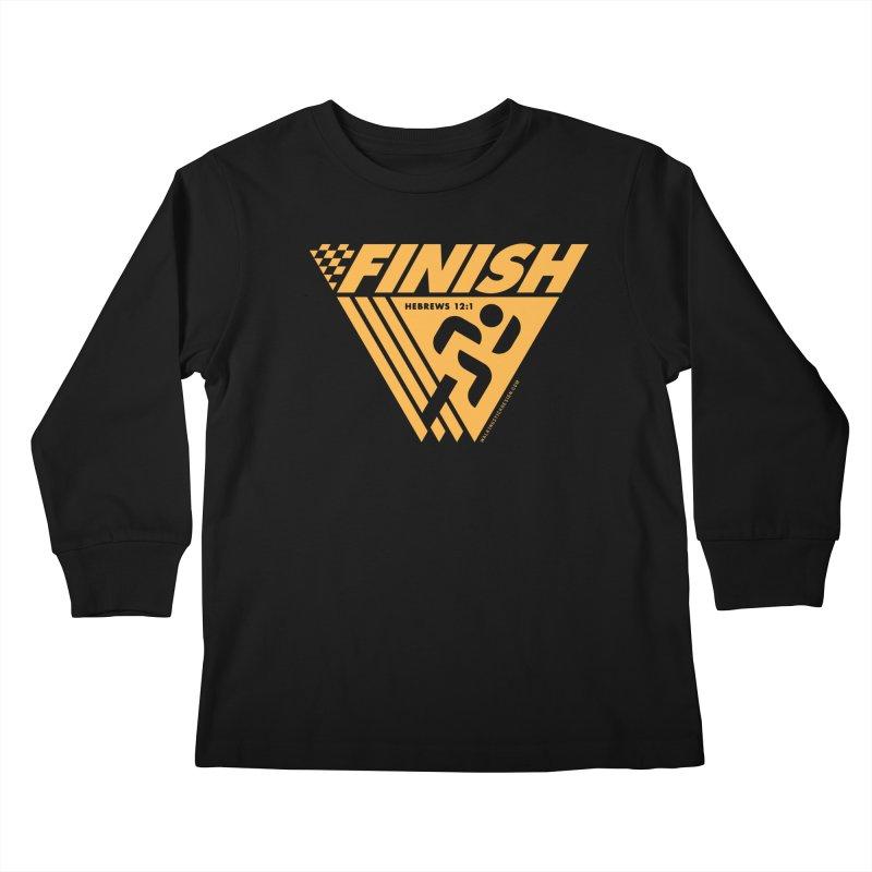 FINISH Retro Race Tee Kids Longsleeve T-Shirt by WalkingStick Design's Artist Shop