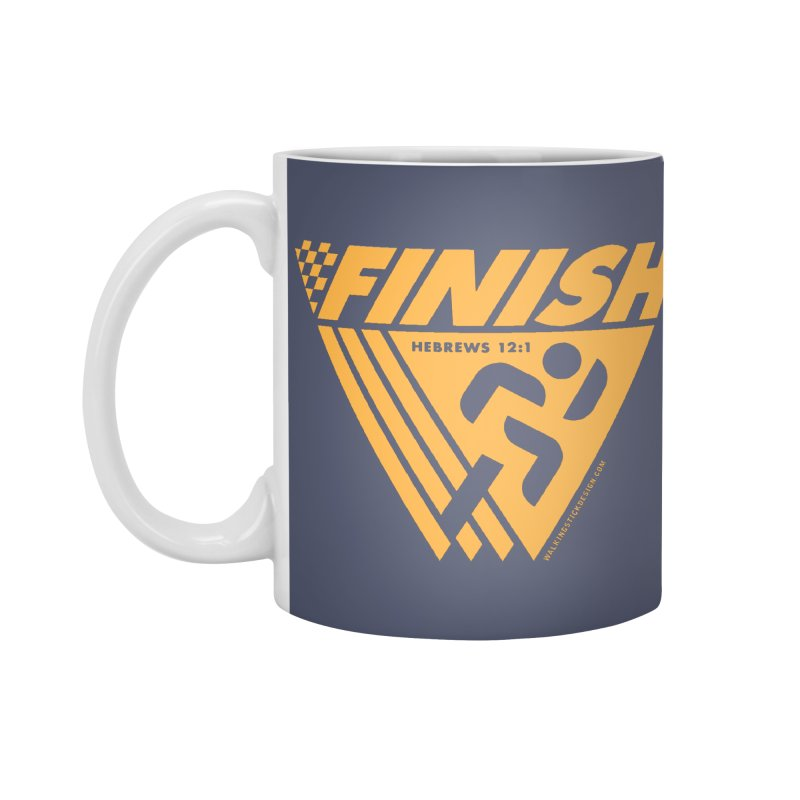 FINISH Retro Race Tee Accessories Mug by WalkingStick Design's Artist Shop