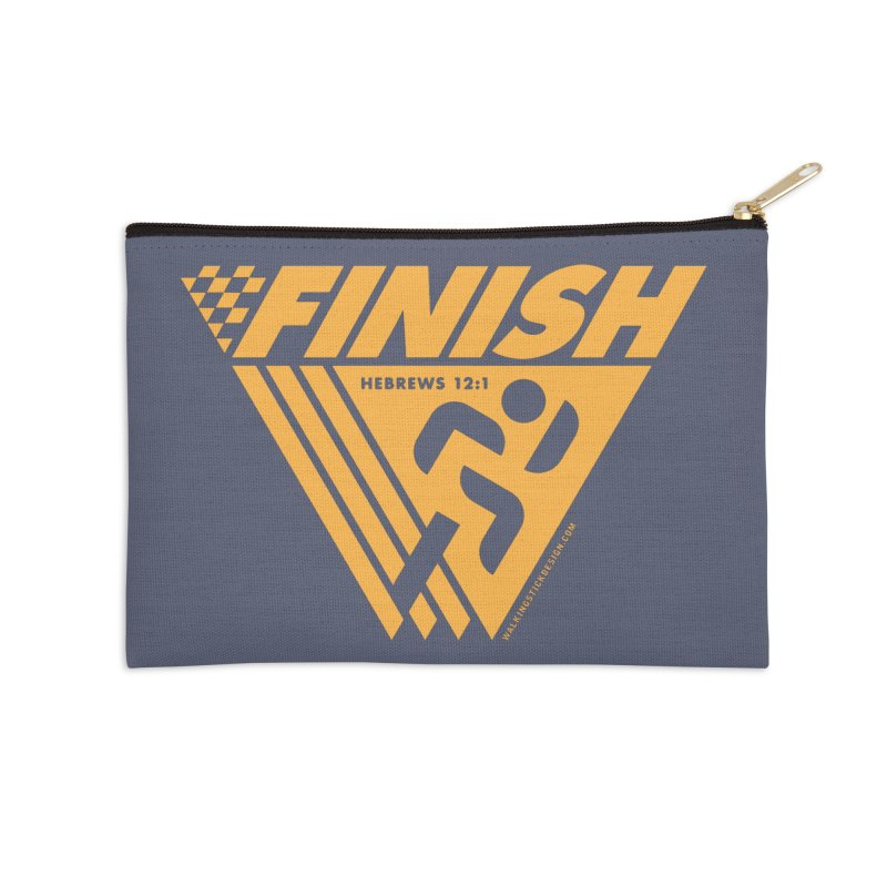 FINISH Retro Race Tee Accessories Zip Pouch by WalkingStick Design's Artist Shop