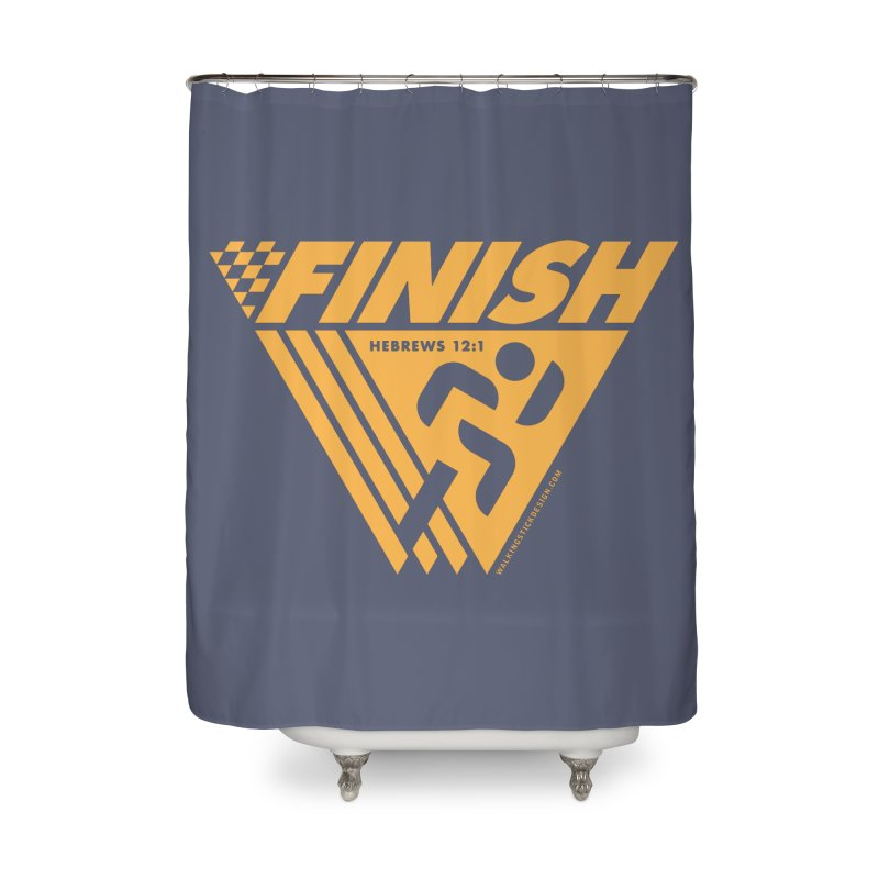 FINISH Retro Race Tee Home Shower Curtain by WalkingStick Design's Artist Shop