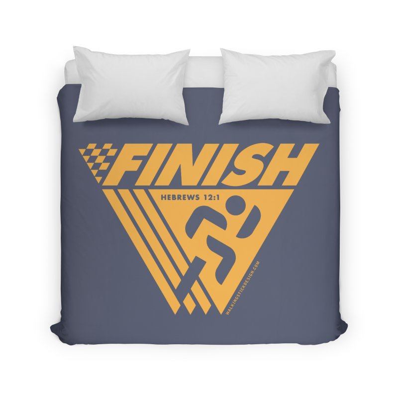 FINISH Retro Race Tee Home Duvet by WalkingStick Design's Artist Shop