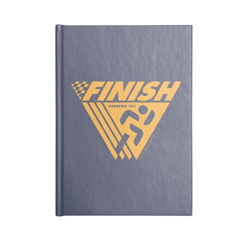 FINISH Retro Race Tee Accessories Notebook by walkingstickdesign's Artist Shop