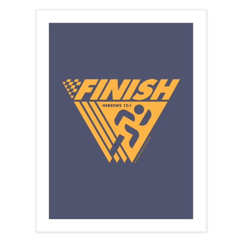 FINISH Retro Race Tee Home Fine Art Print by walkingstickdesign's Artist Shop