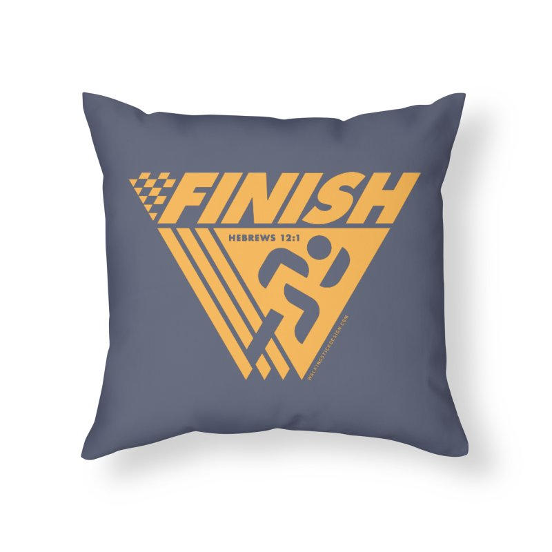 FINISH Retro Race Tee Home Throw Pillow by WalkingStick Design's Artist Shop