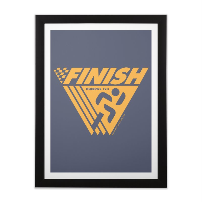 FINISH Retro Race Tee Home Framed Fine Art Print by WalkingStick Design's Artist Shop