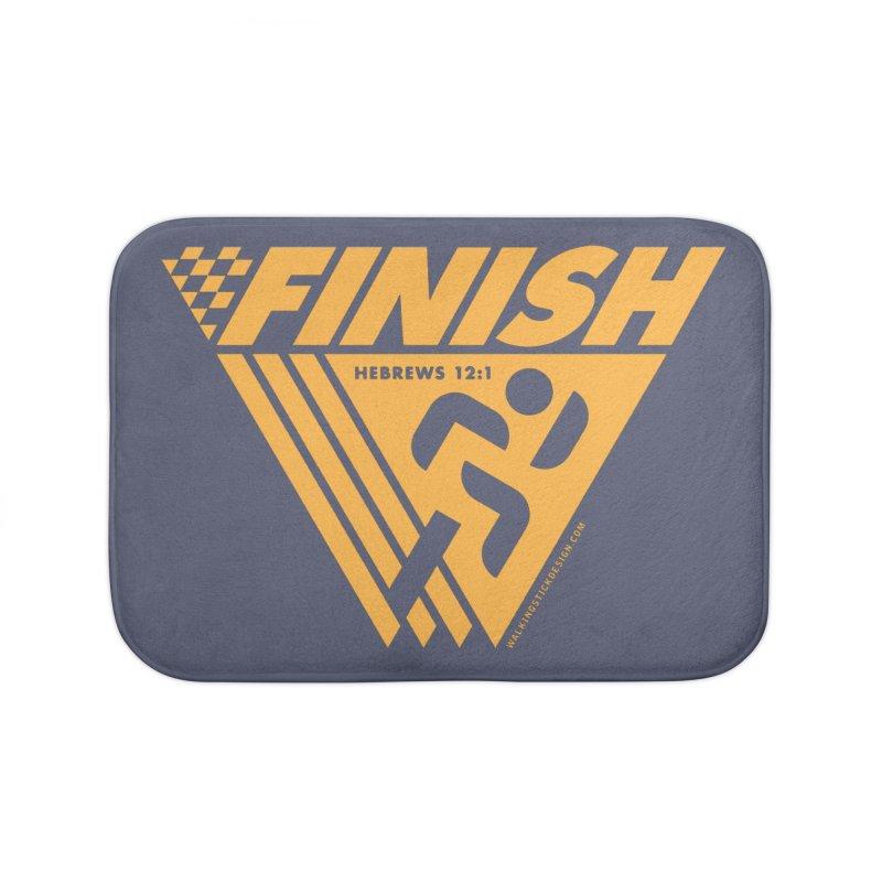 FINISH Retro Race Tee Home Bath Mat by WalkingStick Design's Artist Shop