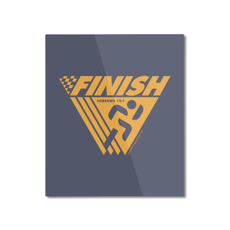 FINISH Retro Race Tee Home Mounted Aluminum Print by WalkingStick Design's Artist Shop