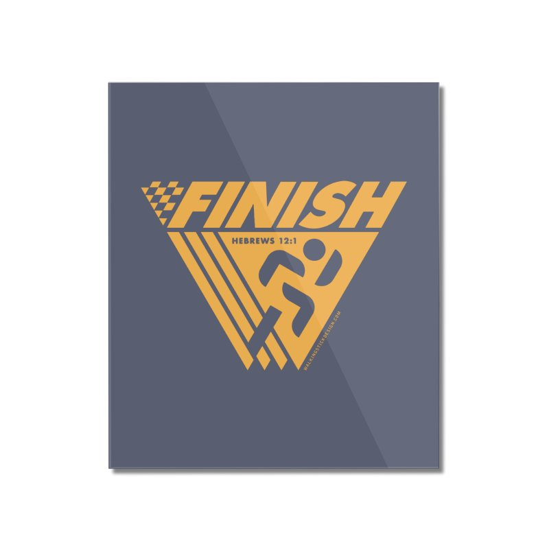 FINISH Retro Race Tee Home Mounted Acrylic Print by walkingstickdesign's Artist Shop