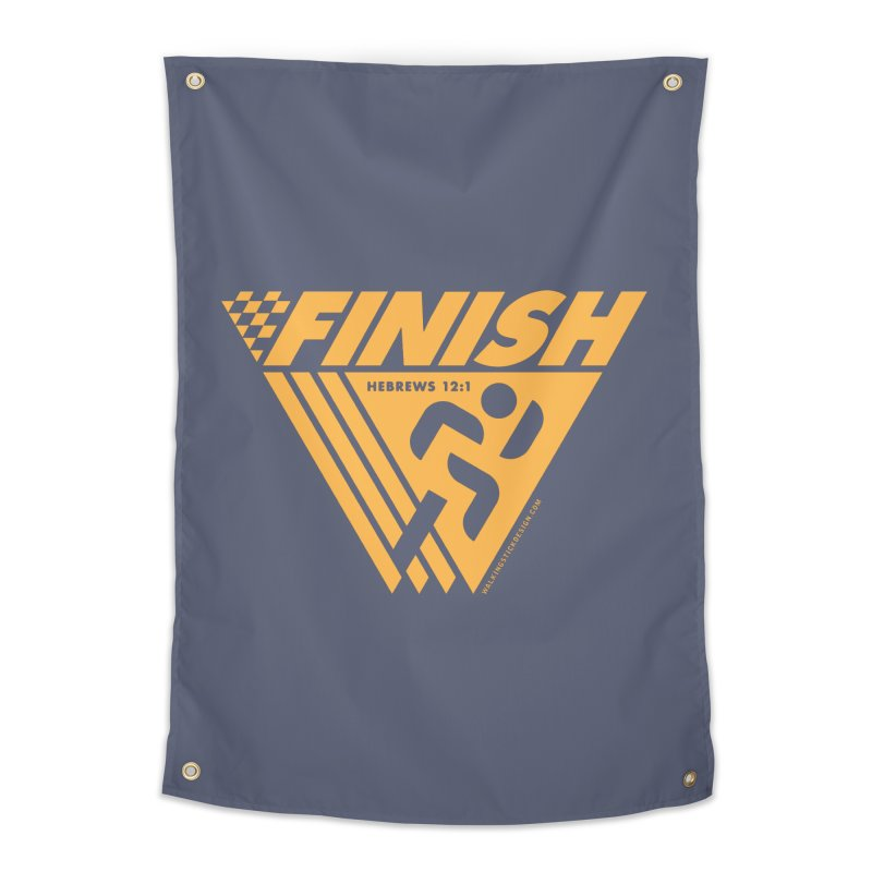 FINISH Retro Race Tee Home Tapestry by walkingstickdesign's Artist Shop