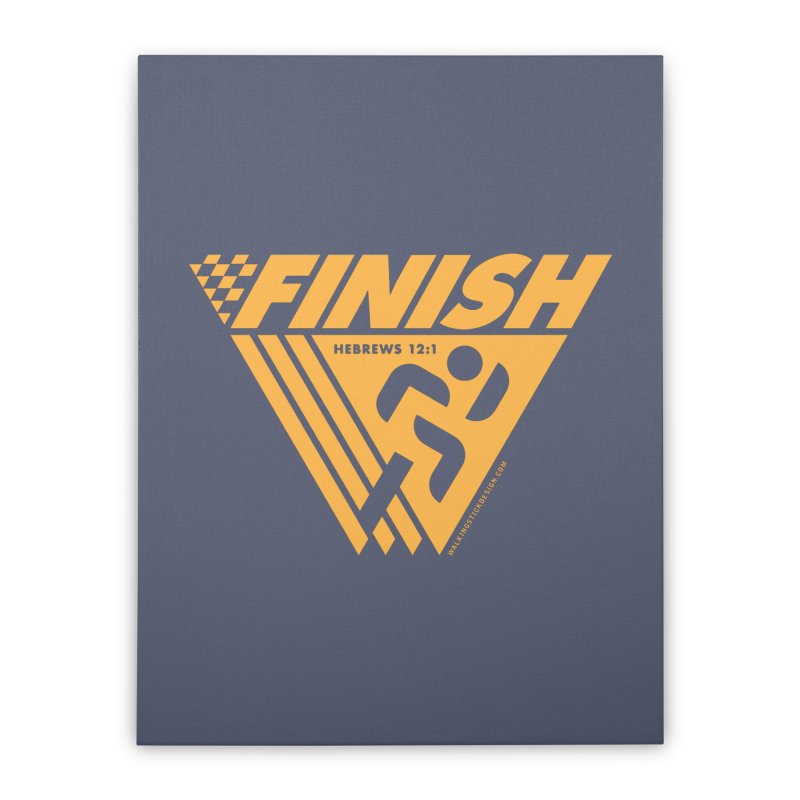 FINISH Retro Race Tee Home Stretched Canvas by WalkingStick Design's Artist Shop