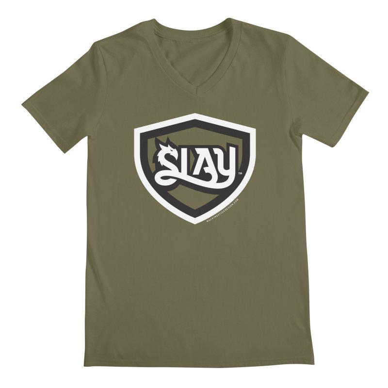 SLAY Shirt - Official Shield Design Men's Regular V-Neck by WalkingStick Design's Artist Shop