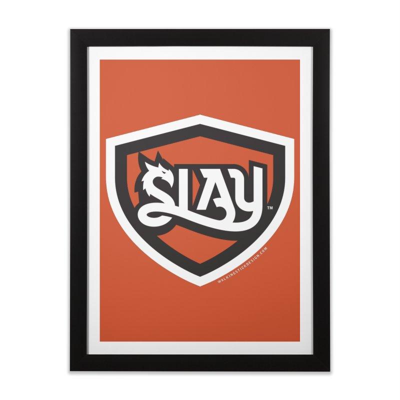 SLAY Shirt - Official Shield Design Home Framed Fine Art Print by WalkingStick Design's Artist Shop