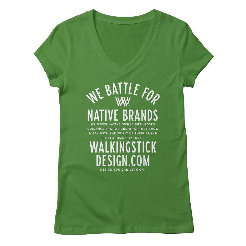 Label  + WalkingStick Design Co. Women's Regular V-Neck by WalkingStick Design's Artist Shop