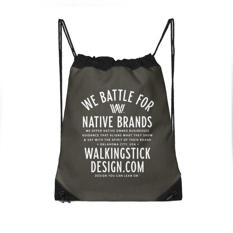Label  + WalkingStick Design Co. Accessories Drawstring Bag Bag by WalkingStick Design's Artist Shop