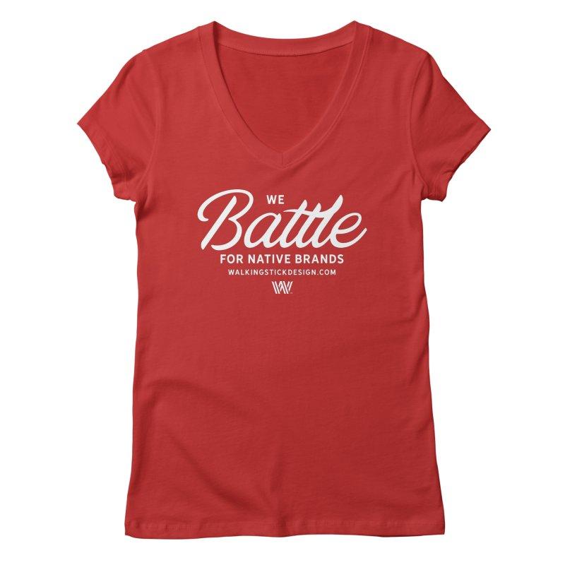Battle + WalkingStick Design Co. Women's V-Neck by WalkingStick Design's Artist Shop