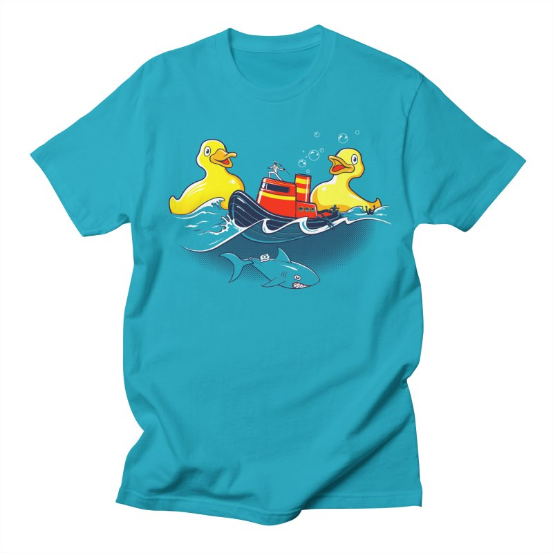 Quack Attack in Men's Regular T-Shirt Cyan by thunderpeel
