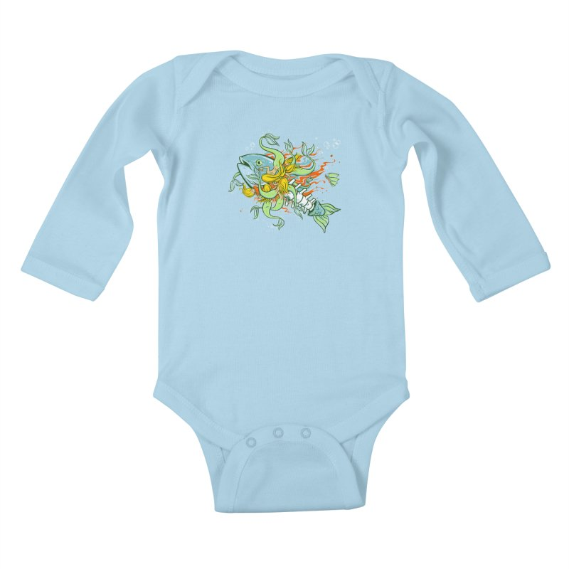 Feeding Frenzy Kids Baby Longsleeve Bodysuit by thunderpeel