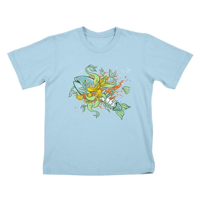Feeding Frenzy Kids T-shirt by thunderpeel