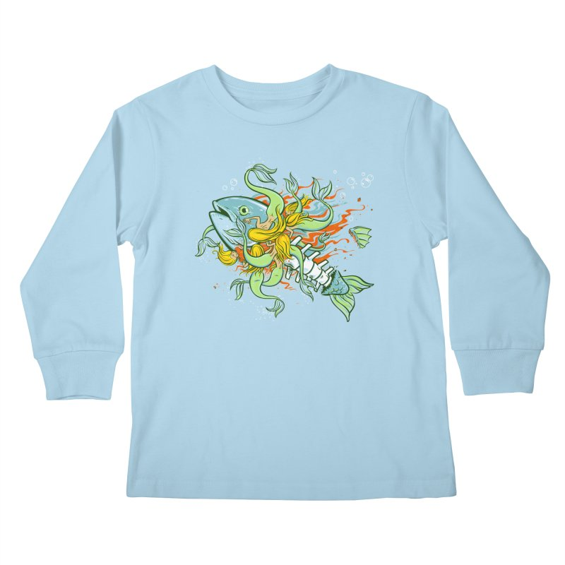 Feeding Frenzy Kids Longsleeve T-Shirt by thunderpeel