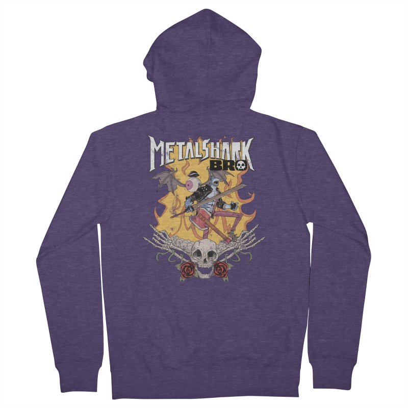 Metalshark Bro Tour Shirt - Distressed Men's French Terry Zip-Up Hoody by Walter Ostlie