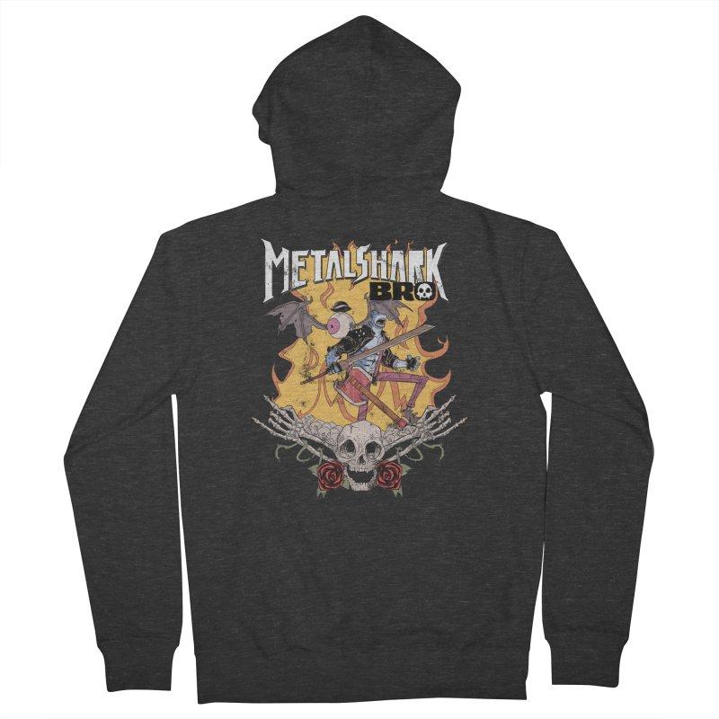 Metalshark Bro Tour Shirt - Distressed Men's Zip-Up Hoody by Walter Ostlie