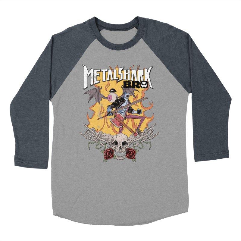 Metalshark Bro Tour Shirt - Distressed Women's Baseball Triblend Longsleeve T-Shirt by Walter Ostlie