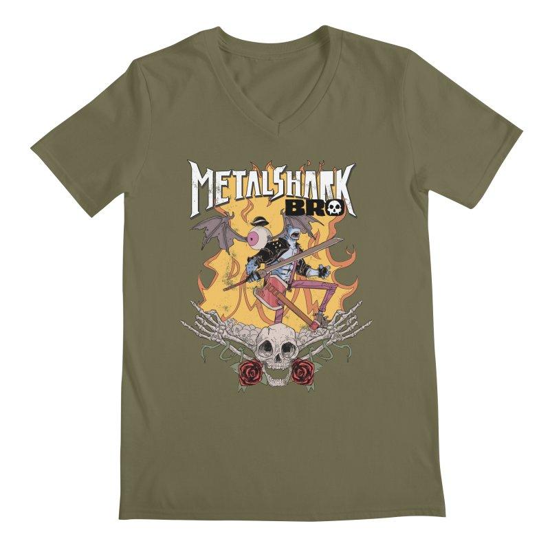 Metalshark Bro Tour Shirt - Distressed Men's Regular V-Neck by Walter Ostlie