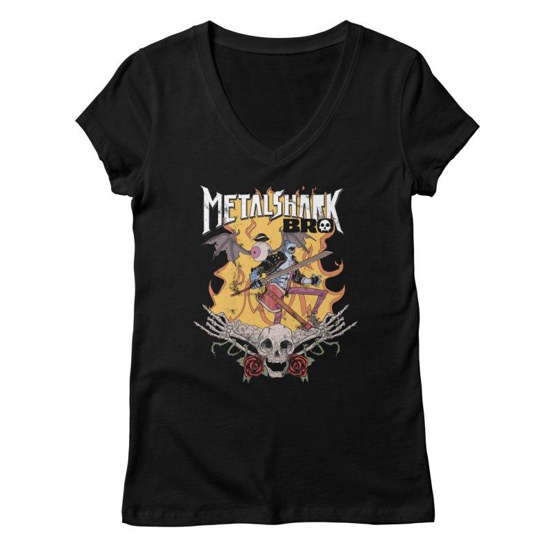 Metalshark Bro Tour Shirt - Distressed Women's V-Neck by Walter Ostlie
