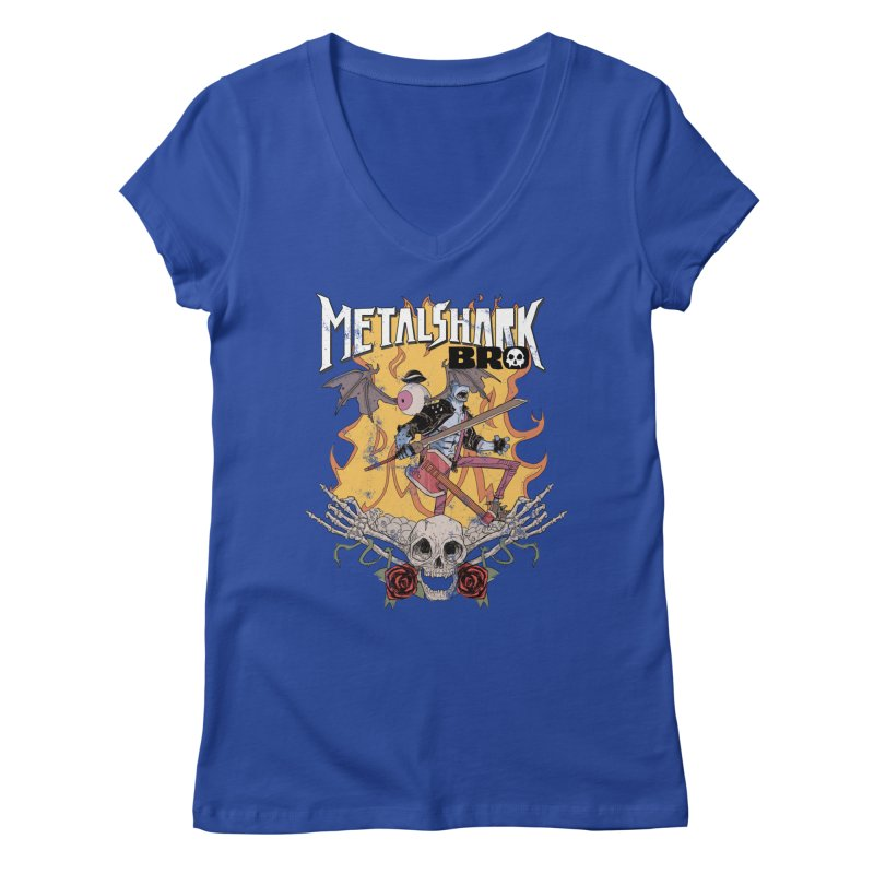 Metalshark Bro Tour Shirt - Distressed Women's Regular V-Neck by Walter Ostlie