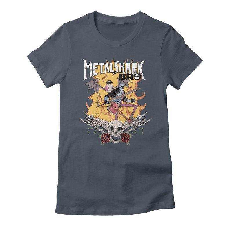 Metalshark Bro Tour Shirt - Distressed Women's T-Shirt by Walter Ostlie