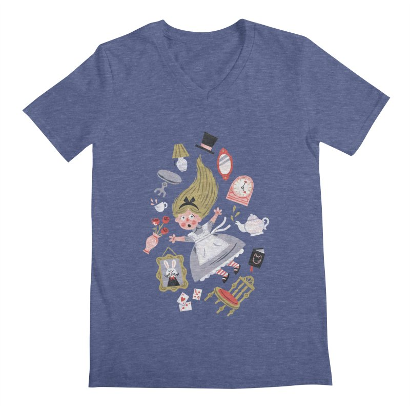 Alice in Wonderland Men's V-Neck by WanderingBert Shirts and stuff