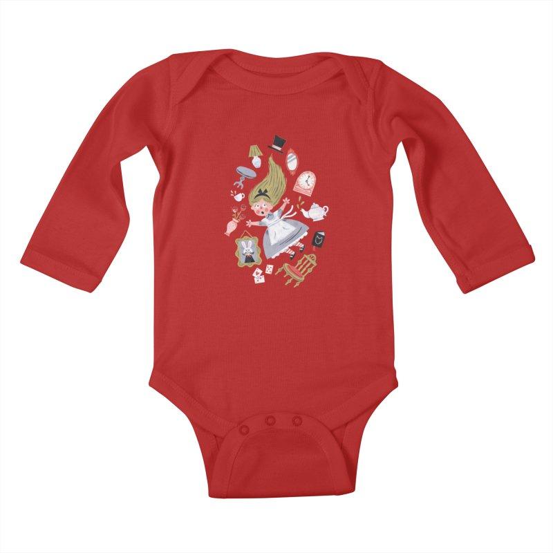 Alice in Wonderland Kids Baby Longsleeve Bodysuit by WanderingBert Shirts and stuff