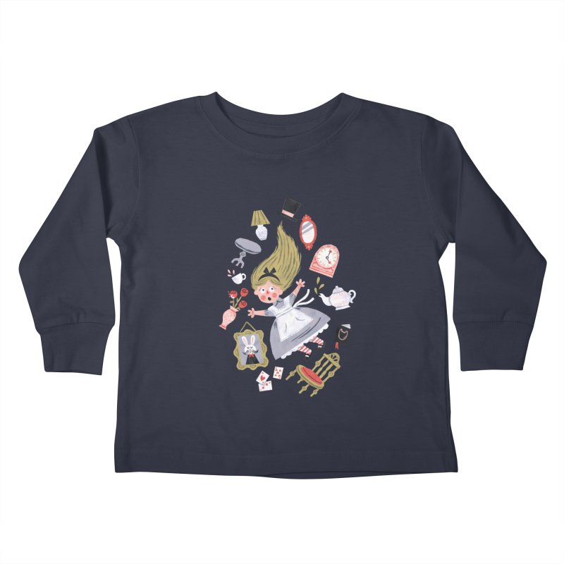 Alice in Wonderland Kids Toddler Longsleeve T-Shirt by WanderingBert Shirts and stuff