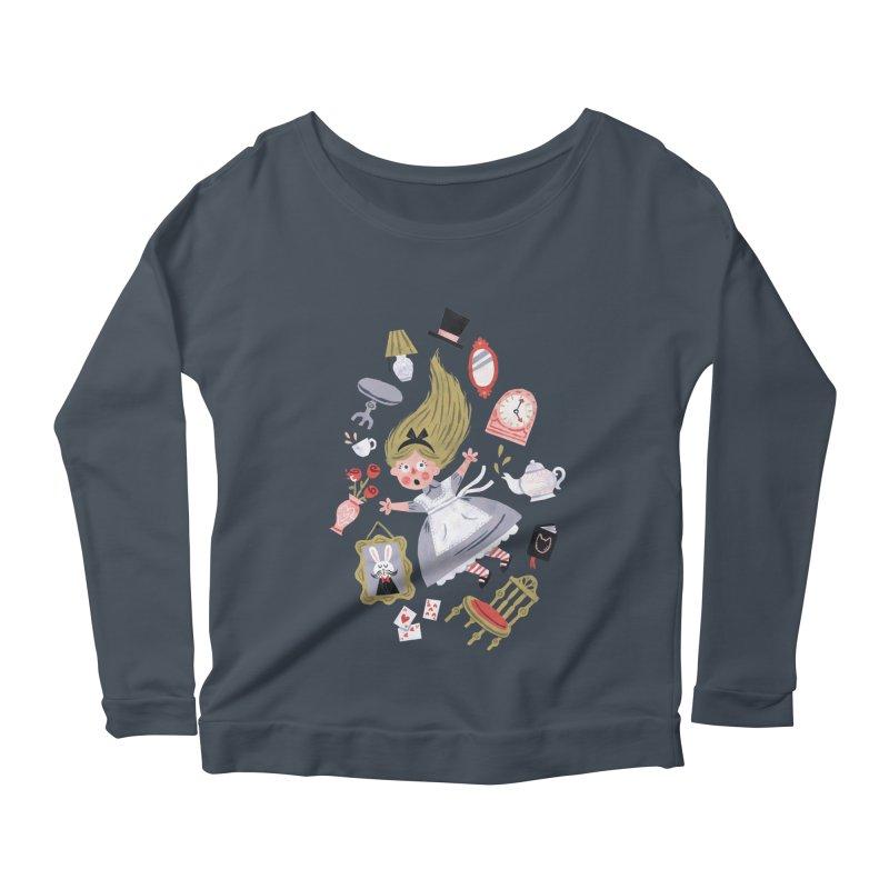 Alice in Wonderland Women's Longsleeve Scoopneck  by WanderingBert Shirts and stuff