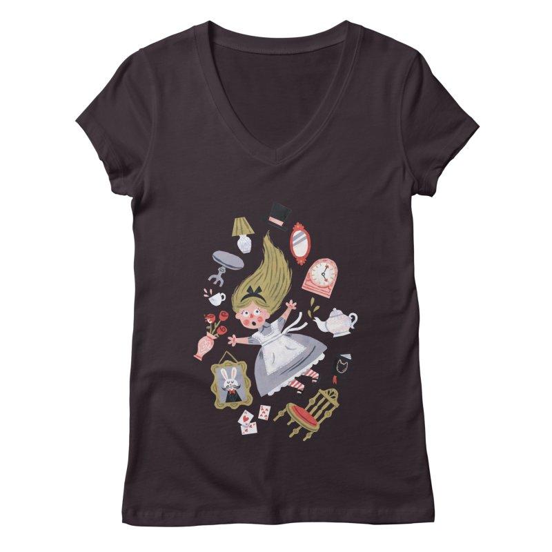 Alice in Wonderland Women's V-Neck by WanderingBert Shirts and stuff