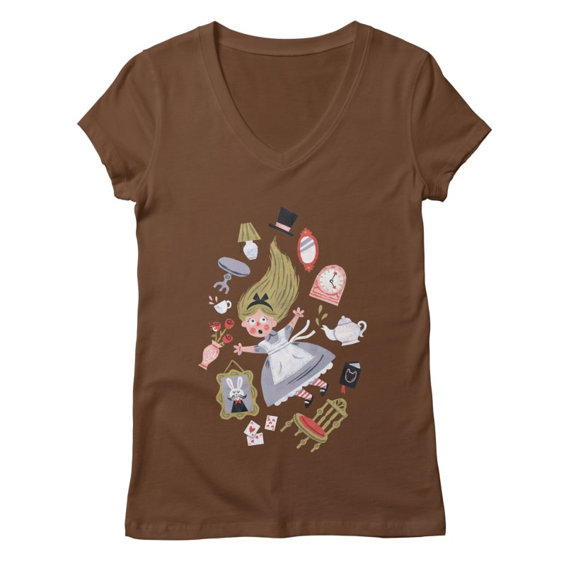 Alice in Wonderland Women's V-Neck by WanderingBert Shirts and stuff
