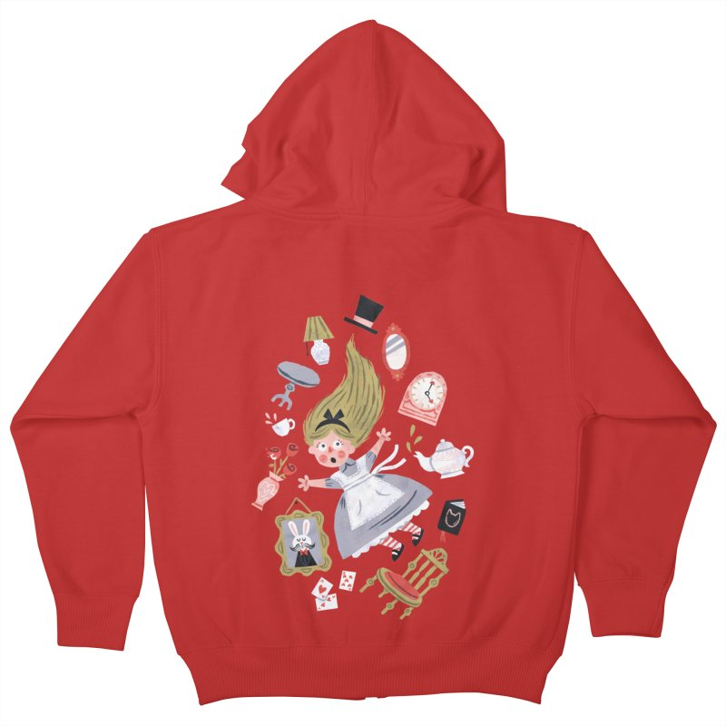 Alice in Wonderland Kids Zip-Up Hoody by WanderingBert Shirts and stuff