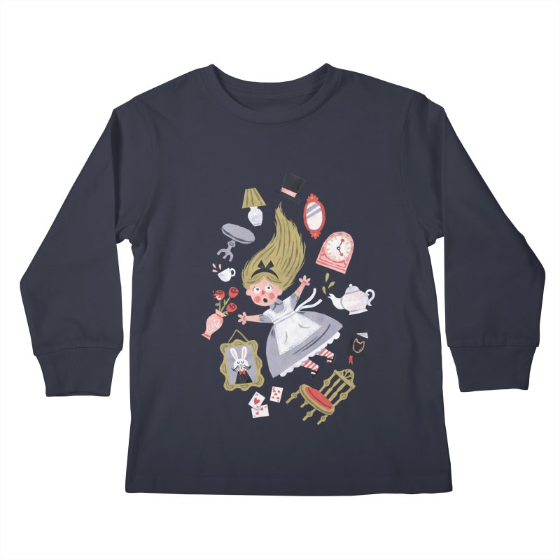 Alice in Wonderland Kids Longsleeve T-Shirt by WanderingBert Shirts and stuff