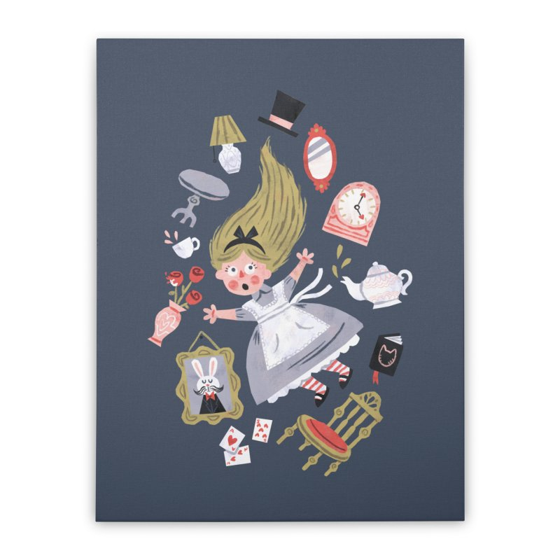 Alice in Wonderland Home Stretched Canvas by WanderingBert Shirts and stuff