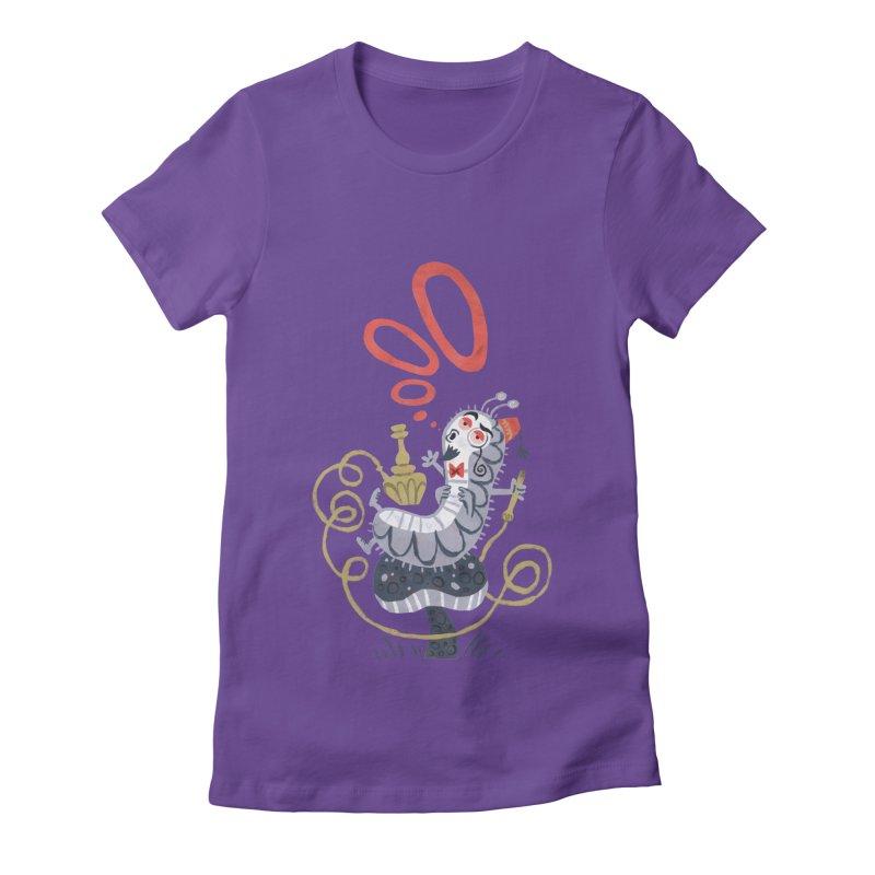 Caterpillar - Alice in Wonderland Women's Fitted T-Shirt by WanderingBert Shirts and stuff