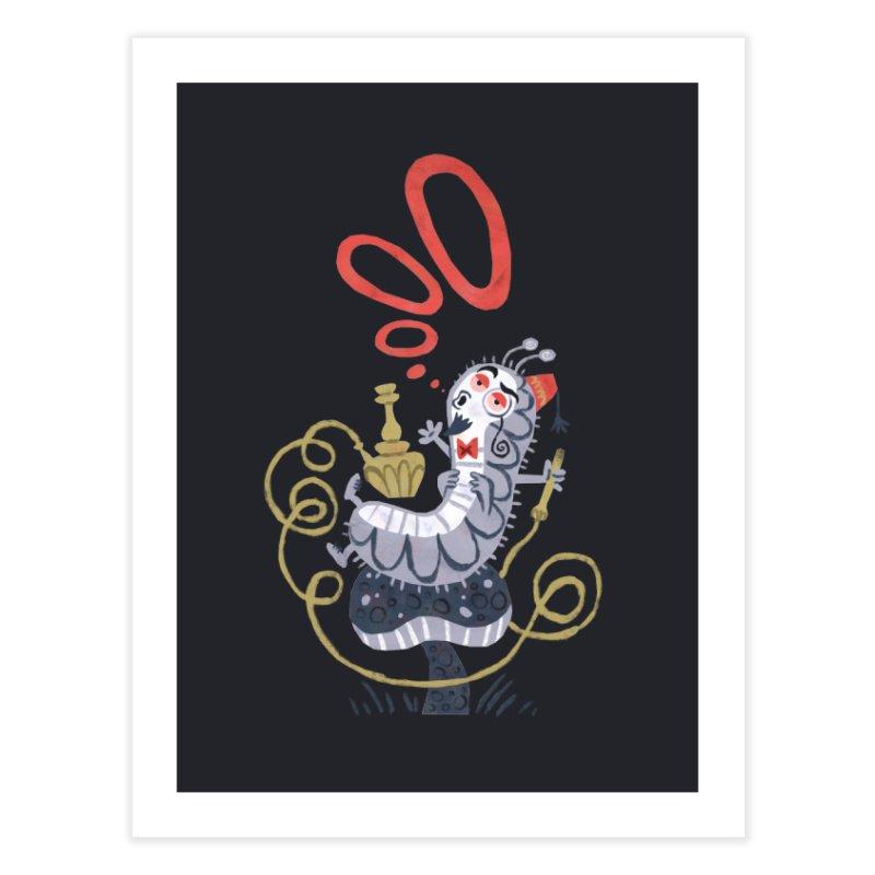 Caterpillar - Alice in Wonderland Home Fine Art Print by WanderingBert Shirts and stuff