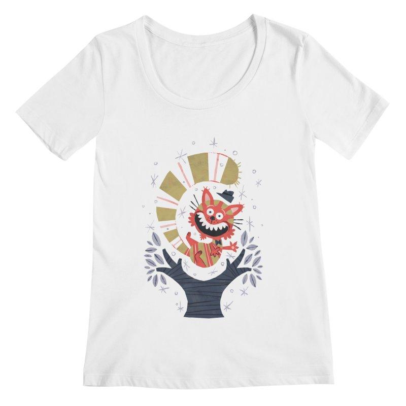 Cheshire Cat - Alice in Wonderland Women's Scoopneck by WanderingBert Shirts and stuff